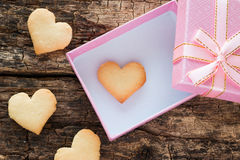 Pink gift box with a heart Royalty Free Stock Images
