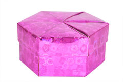 Pink gift box hexagon shape isolated Royalty Free Stock Photo