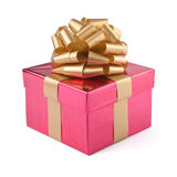 Pink gift box. Isolated. Pink gift box with golden ribbon Royalty Free Stock Photography