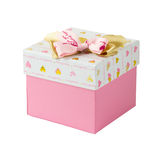 Single pink gift box with golden and pink bows Stock Photography