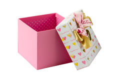 Open pink gift box with golden and pink bows Stock Photography