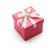 Pink Gift Box Isolated on White Royalty Free Stock Photos