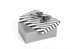 Pink gift box with a lid in a white and blue stripes and a blue. Satin bow. Toned Royalty Free Stock Photos