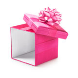 Pink gift box. Open pink gift box with ribbon bow. Holiday present. Object isolated on white background. Clipping path Royalty Free Stock Photo