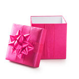 Pink gift box. Open pink gift box with ribbon bow. Holiday present. Object isolated on white background. Clipping path Royalty Free Stock Images