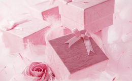 Pink gift box with Pink ribbon Royalty Free Stock Photography