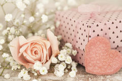 Pink gift box with pink rose Stock Photo