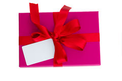 Pink gift box with blank card Stock Images