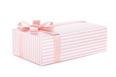 Pink gift box with ribbon and bow. Isolated on white background Stock Photos