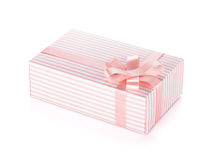 Pink gift box with ribbon and bow Royalty Free Stock Photo