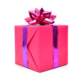 Pink gift box. With ribbon bow. Holiday present. Object isolated on white background Stock Image
