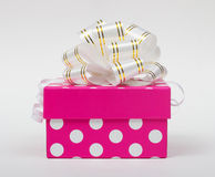 Pink gift box. With ribbon bow isolated on white background Royalty Free Stock Photos