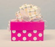 Pink gift box. With ribbon bow isolated on white background Stock Photos