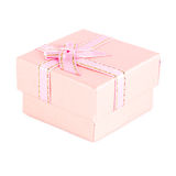 Pink gift box with ribbon bow isolated on white. Background Stock Photo
