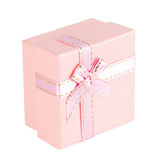 Pink gift box with ribbon bow. Isolated on white background Stock Photo