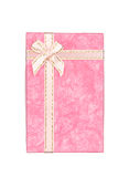 Pink gift box with ribbon and bow isolated on white Stock Image