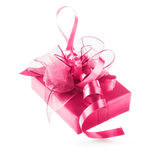 Pink gift box. With ribbon bow. Luxury holiday present. Object isolated on white background clipping path included Stock Photos