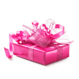 Pink gift box. With ribbon bow. Luxury holiday present. Object isolated on white background clipping path included Stock Photography