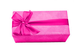 Pink gift box with ribbon and bow Stock Photo
