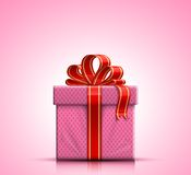 Pink gift box with ribbon and bow Royalty Free Stock Photos