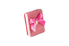 Pink gift box with ribbon bow on white background. Pink gift box with ribbon bow isolated on white background Stock Photo