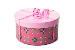 Pink gift box with ribbon isolated. Over white Royalty Free Stock Image