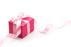 Pink Gift Box With Ribbon. Isolated on white background Royalty Free Stock Photography