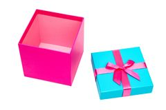 Pink gift box with ribbon isolated on white background. Clipping path Royalty Free Stock Images