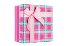 Pink gift box with ribbon, shallow depth of field Royalty Free Stock Photos
