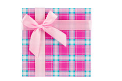 Pink gift box with ribbon, shallow depth of field Stock Images