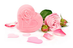 Pink gift box with a rose and petals Stock Photos
