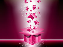 Pink gift box with stars. Stock Photo