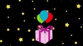 Pink gift box and stars royalty free illustration