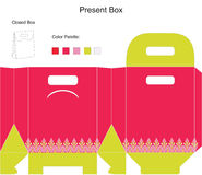 Pink gift box template. Template present box for baby girl shower vector illustration