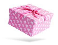 Pink gift box,  on white background. File contains a path to isolation. Stock Photos