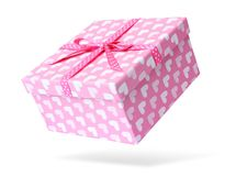Pink gift box,  on white background. File contains a path to isolation. Stock Photo