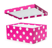 Pink gift box with white polka dots Royalty Free Stock Images