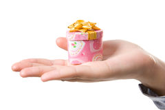 Pink gift box in women hand Stock Photography