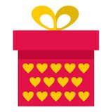 Pink gift box with yellow hearts icon isolated Royalty Free Stock Photo
