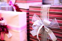 Pink gift boxes with bows. Concept christmas Stock Images