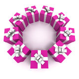 Pink gift boxes circle Royalty Free Stock Photos