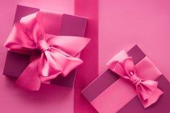 Pink gift boxes, feminine style flatlay background