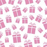 Pink gift boxes seamless pattern. Rose Valentin`s Day vector background. Cute presents template texture. Good idea for wrapping p. Aper, fabric print, greeting Stock Illustration