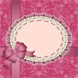 Pink gift card with lace, ribbons, silk bow. Elegant template luxury invitation, gift card with lace ornament, ribbon, silk bow, place for text. Floral elements Royalty Free Stock Photography