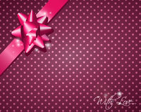 Pink Gift. (card) with a ribbon and dotted background Royalty Free Stock Photos