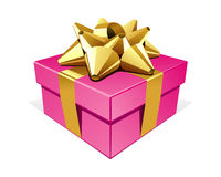 Pink gift with gold bo Royalty Free Stock Image