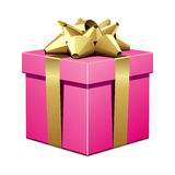 Pink gift with gold bow Royalty Free Stock Photo