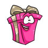 Pink gift happiness cartoon Royalty Free Stock Image