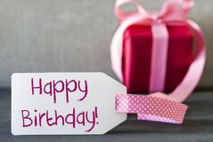 Pink Gift, Label, Text Happy Birthday Stock Photography