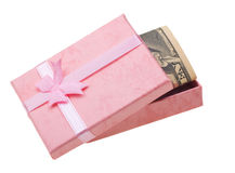 Pink gift with money anknotes Royalty Free Stock Images